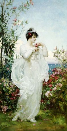 """⊰ Posing with Posies ⊱ paintings  illustrations of women  children with flowers - Henrietta Rae (1859-1928), """"Summer"""""""