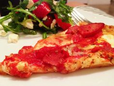 Gluten free pizza with Bob Red Mill's pizza crust.