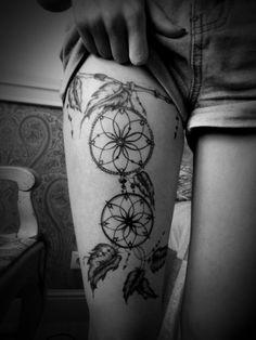 tattoo ideas, thigh tattoos, dream catchers, dream catcher tattoo, leg tattoos, tattoo patterns, legs, design, ink