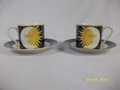 Vitromaster Galaxy Sun Moon Stars Demitasse Espresso Cup & Saucer Set