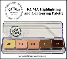 RCMA Highlight and Contouring Palette - will define, minimize or enhance facial features for a more balanced look.  It's a multiple-duty palette that gives you many ways to deal with a discoloration, minimize imperfections or highlight facial features such as cheekbones.  These colors were specially designed by top professional industry Pros, who know the importance of having a good sculpting and correcting palette.  It's a must have for all makeup artists!
