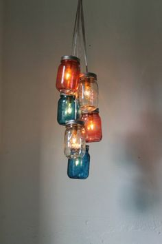 country chic decorated jars | mason jar chandelier | Tumblr