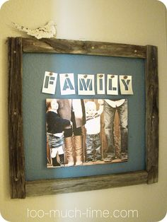 Family Art Frame using old fencing