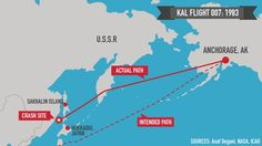1983: A Korean Air Lines Boeing 747 carrying 269 passengers and crew bound from New York to Seoul violates Soviet airspace near Sakhalin Island and is shot down the morning of September 1 by an air-to-air missile fired from a Soviet fighter jet. All aboard are killed. Moscow insists the airliner was on a US spy mission.