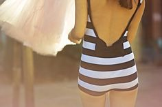 stinkin' cute. vintage swimsuits, fashion shoes, girl fashion, playsuit, bikini, bow, summer clothes, stripe, vintage bathing suits