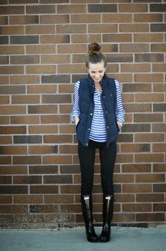 (fall/winter) blue and white striped shirt, blue vest, black pants, black boots from Merricks Art