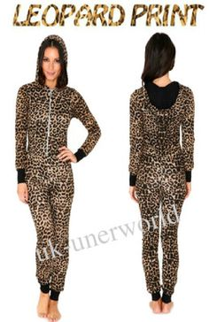 ADULTS LADIES LEOPARD ANIMAL PRINT ONESIE HOODED JUMPSUIT ALL IN ONE XS S M L XL | eBay
