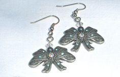 Pewter Bow Ties Earrings With Crystals Fantasy by MonasCreationsFL