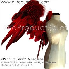 NEW eProductSales red MORGANNA #BJD Feather Angel #Wings designed for Ball-Jointed Dolls