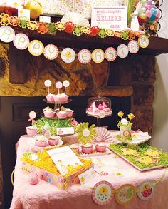 Easter decorations, mantel, table