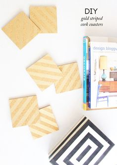 DIY Gold Striped Cork Coasters