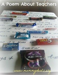 Teachers work so hard for our kids and this poem for teachers made from candies will let them know you care.