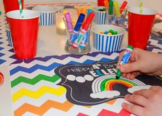Personalized Paper Placemat PACKAGE - Rainbow Chevron with a rainbow to color!