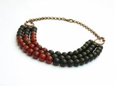 Black frosted agate and rainbow jasper 3 strands by LightcityLife