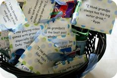 Interview your kids and find out what they love about their dad or grandpa. Then find small items to illustrate their thoughts and put them in a basket. Simple and thoughtful!