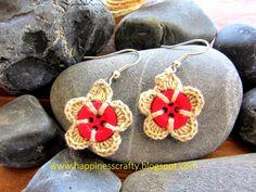 Crochet Button Earrings ~ Free Pattern