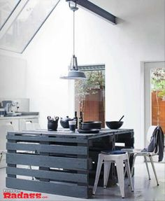 Kitchen island made of painted pallets