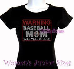WARNING  Baseball Mom  Rhinestone Iron on by BlingIsMySignature, $19.99
