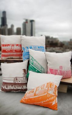 Chicago el pillows via Etsy.