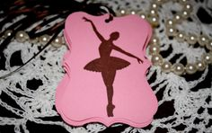 Ballerina Favor Gift Tags  Pink And Brown  Dancer by Booksonblocks, $3.95