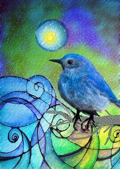 :)mixed media bluebird