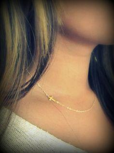 Tiny Gold Sideways Cross Necklace