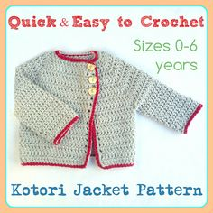 Kotori Jacket Pattern by SharaMade - Easy  quick to make, simple enough for a beginner! Available in sizes newborn to 6 years!!
