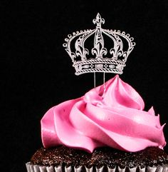Crown Clear Laser Cut Acrylic Cupcake Toppers