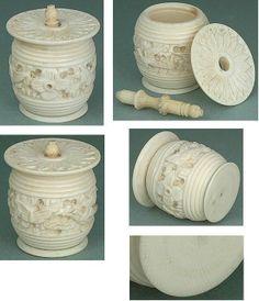 Pretty Antique Carved Canton Thread Barrel With Birds Butterflies Circa 1840 | eBay