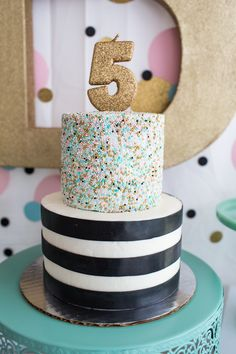 Cue the Confetti Party, sequins, stripes, glitter, tassels, gold, # 5, sprinkles, Cake