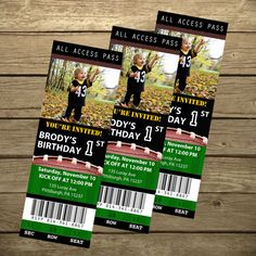 Brodster's Bday Ideas!  Football Ticket Birthday Invitation- Printable