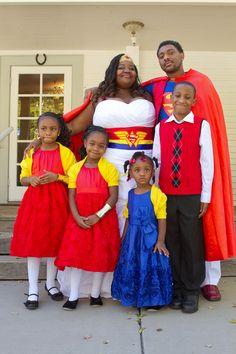 Superhero family wedding portrait