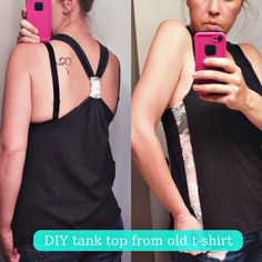 easy DIY tank top with lace side panels, from an old T-shirt.  perfect for working out