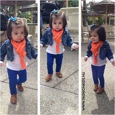 toddler outfit, kids fashion, blue & orange, tights, white tee, denim jacket, barrette, bright color