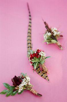 feather boutonnieres, photo by Adam Barnes http://ruffledblog.com/ralph-lauren-inspired-shoot #grooms