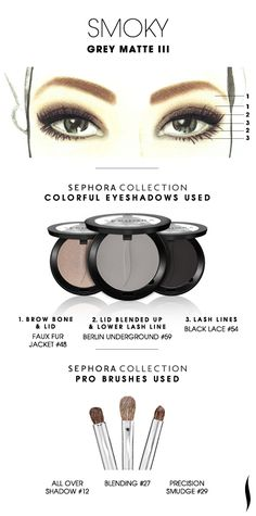 SMOKY: Grey Matte 3 HOW TO. #sephoracollection #sephora #makeup #eyeshadow #sephorasweeps