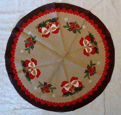Vintage Christmas Tree Skirt ~ Swedish / Norwegian Burlap Skirt w/ Tomte and Bells