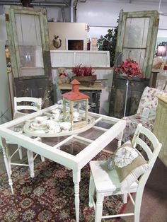 cute little upcycled window table