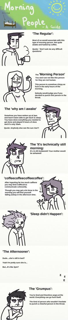 Types of morning people... Which kind are you?