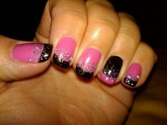 Hot Pop Pink with Black Pool and Glitter. Shellac Nail Art