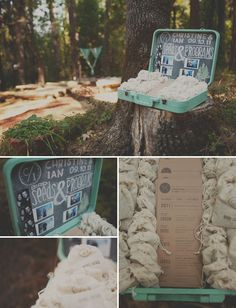 A vintage suitcase for wedding favors and programs.