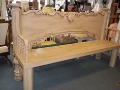 King size headboard, crib parts and re-cycled lumber make this awesome bench!