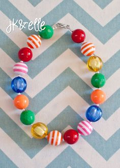 Rainbow Primary Necklace for Little Girls by JKandElle on Etsy, $15.00