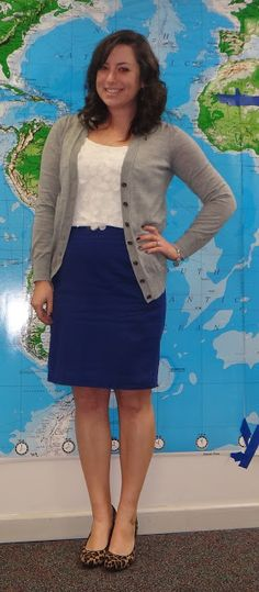 Grey cardigan, white top, blue skirt and leopard heels. Try it with jeans or navy pants. Get the leopard shoes!