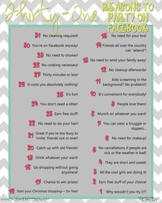 Thirty-One reasons to party on Facebook!! #thirty-one www.tagteampartypeeps.com