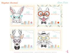 Free Printables: Hipster Animal Bookplates