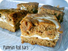 Cream Cheese and Pumpkin Roll Bars Recipe- tastes like a pumpkin roll without all the hard work! Delicious! Don't forget to use Pumpkin Valley Farms Pumpkin Purée!