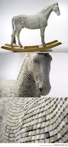 Horse made from computer keys