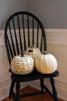 Draw/write on white pumpkins with sharpies for simple and elegant Halloween decor