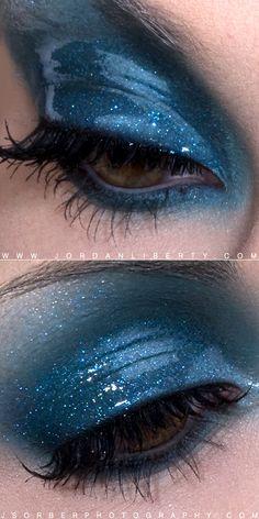 Blue shimmer  wet eye makeup